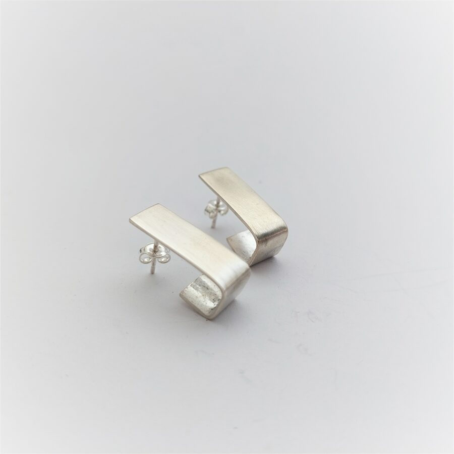 Rectangle wrap earrings, matted