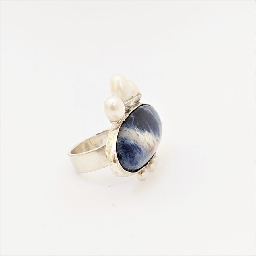 Large silver women statement ring with pearls and sodalite semi gemstone