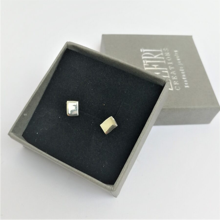 Minimalist style sterling silver glossy square rectangle earring studs