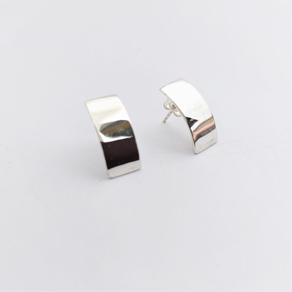 Curved rectangle earring studs
